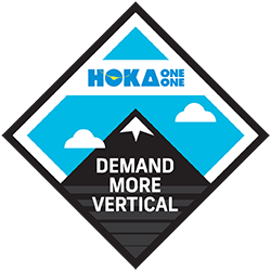 HOKA ONE ONE's Demand More Vertical Challenge logo