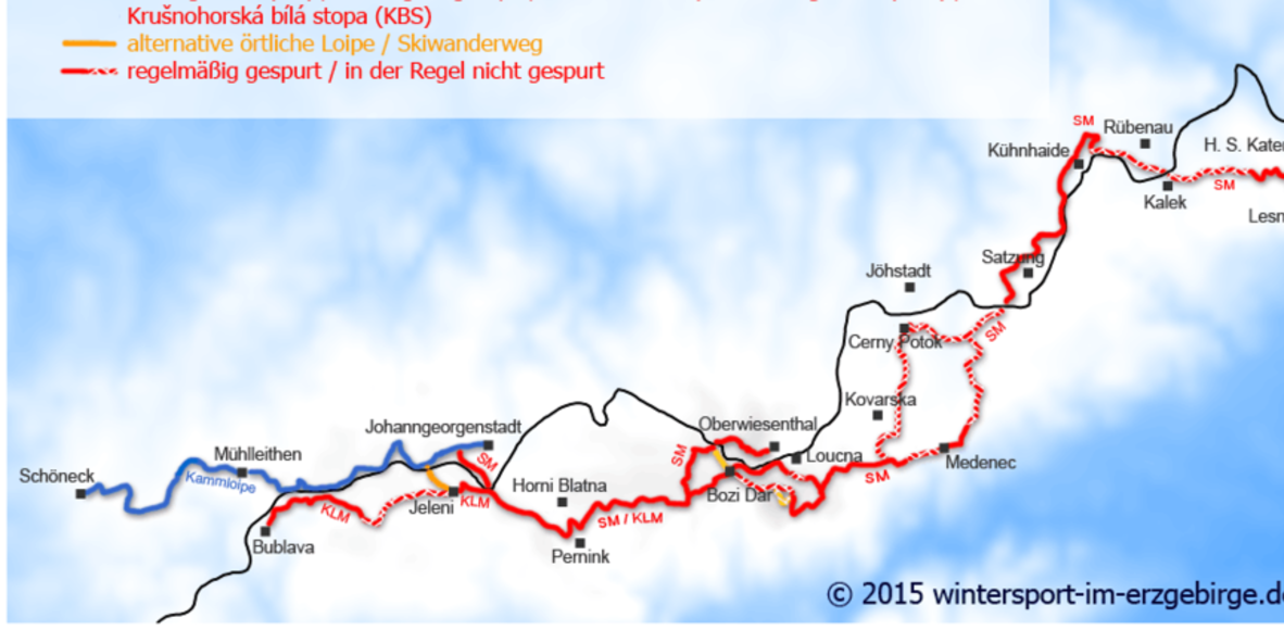 Skilanglauf Kammloipe, Skimagistrale Erzgebirge KLM